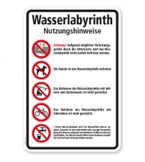 Verbotsschild Wasserlabyrinth - Nutzungshinweise
