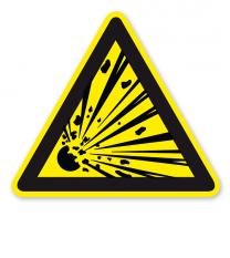 Warnzeichen Warnung vor explosionsgefährlichen Stoffen nach DIN EN ISO 7010 - W 002