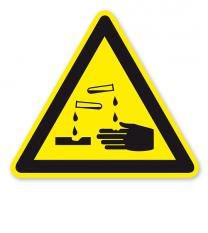 Warnzeichen Warnung vor ätzenden Stoffen