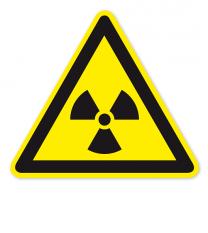 Warnzeichen Warnung vor radioaktiven Stoffen oder ionisierenden Strahlen nach DIN EN ISO 7010 - W 003