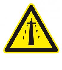 Warnzeichen Warnung vor Eisschlag am Strommast