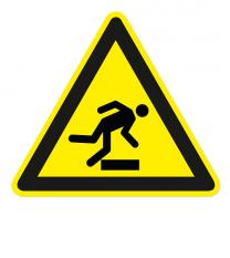 Warnzeichen Warnung vor Hindernissen / Stolpergefahr nach DIN EN ISO 7010 - W 007