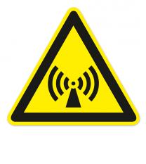 Warnzeichen Warnung vor nicht ionisierender elektomagnetischer Strahlung nach DIN EN ISO 7010 - W 005