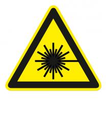 Warnzeichen Warnung vor Laserstrahl nach DIN EN ISO 7010 - W 004