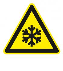 Warnzeichen Warnung vor niedriger Temperatur nach DIN EN ISO 7010 - W 010