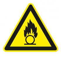 Warnzeichen Warnung vor brandfördernden Stoffen nach DIN EN ISO 7010 - W 028