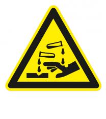 Warnzeichen Warnung vor ätzenden Stoffen nach DIN EN ISO 7010 - W 023