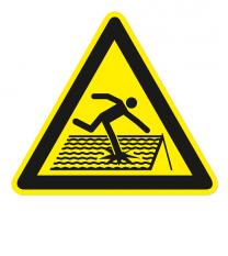 Warnzeichen Warnung vor einsturzgefährdetem / nicht durchtrittsicherem Dach nach DIN EN ISO 7010 - W 036