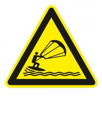 Warnzeichen Warnung vor Kitesurfern nach DIN ISO 20712-1 - WSW 020