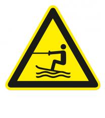 Warnzeichen Warnung vor Wasserski-Bereich nach DIN ISO 20712-1 - WSW 003