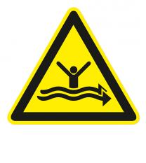Warnzeichen Warnung vor starker Strömung nach DIN ISO 20712-1 - WSW 015