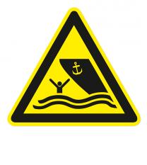 Warnzeichen Warnung vor Schiffsverkehr nach DIN ISO 20712-1 - WSW 016