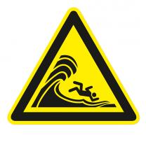 Warnzeichen Warnung vor hoher Brandung oder hohen brechenden Wellen nach DIN ISO 20712-1 - WSW 023