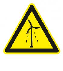 Warnzeichen Warnung vor Eisschlag am Windrad