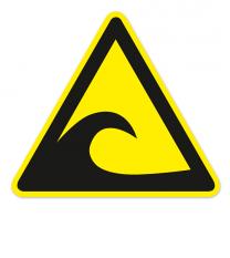 Warnzeichen Tsunamigefahrenzone nach DIN ISO 20712-1 - WSW 014
