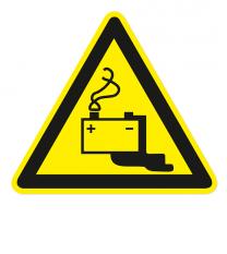 Warnzeichen Warnung vor Gefahren durch das Aufladen von Batterien nach DIN EN ISO 7010 - W 026