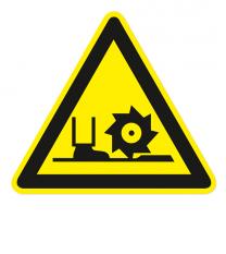 Warnzeichen Warnung vor Fräswelle