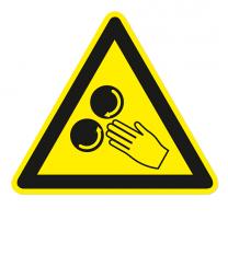 Warnzeichen Warnung vor rotierenden Walzen