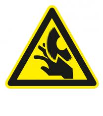 Warnzeichen Warnung vor Schnittverletzungen durch Schneidblatt