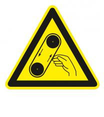 Warnzeichen Warnung vor Bandeinzug