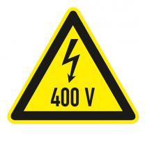 Warnzeichen Warnung vor 400 V