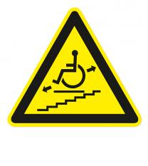 Warnzeichen Warnung vor Behinderten-Treppenaufzug