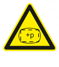 Warnzeichen Warnung vor Überdruck im Raum / in Zone