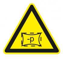 Warnzeichen Warnung vor Unterdruck im Raum / in Zone