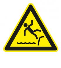 Warnzeichen Warnung vor Absturzgefahr (Wasser)