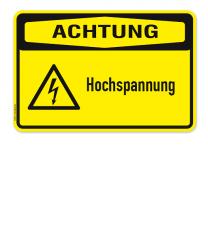 Warnschild Achtung - Hochspannung