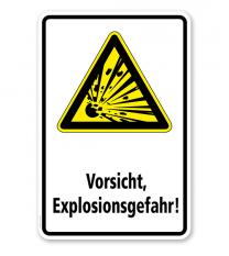 Warnschild Vorsicht Explosionsgefahr