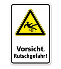 Warnschild Vorsicht, Rutschgefahr