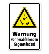 Warnschild Warnung vor herabfallenden Gegenständen