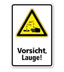Warnschild Vorsicht, Lauge