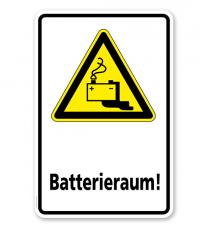 Warnschild Vorsicht, Batterieraum