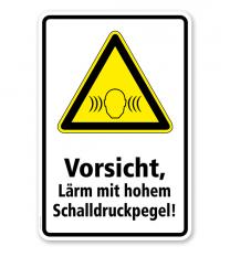 Warnschild Vorsicht, Lärm mit hohem Schalldruckpegel