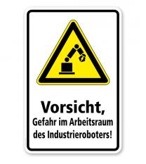 Warnschild Vorsicht, Gefahr im Arbeitsraum des Industrieroboters