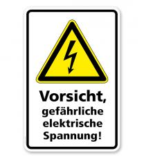 Warnschild Vorsicht, gefährliche elektrische Spannung