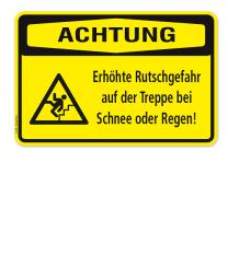 Warnschild Achtung - Erhöhte Rutschgefahr auf der Treppe bei Schnee und Regen