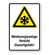 Warnschild Windenergieanlage. Vorsicht Eiswurfgefahr
