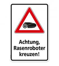 Warnschild Warnung vor Rasenrobotern