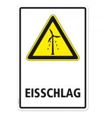 Warnschild Warnung vor Eisschlag am Windrad