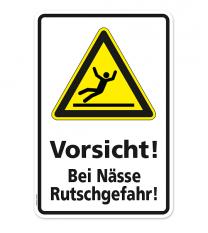Warnschild Vorsicht bei Nässe Rutschgefahr
