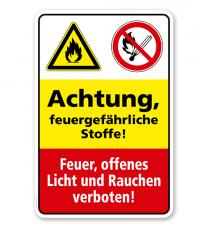 Sicherheitsschild Achtung - Feuergefährliche Stoffe! Feuer, offenes Licht und Rauchen verboten!