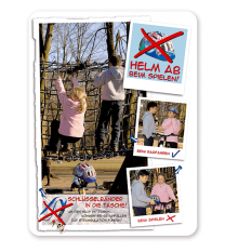 Spielplatzschild Helm und Schlüsselband ab – Strangulationsgefahr - SP