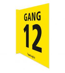 Gangschilder gelb als Nasenschild, ab 20 x 20 cm (nur für den Innenbereich)