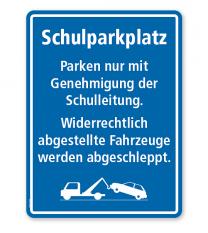 Textschild Schulparkplatz - Verhaltenshinweise - TX