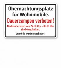 Textschild Übernachtungsplatz für Wohnmobile. Dauercampen verboten! - TX