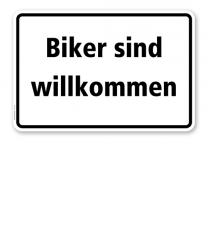 Textschild Biker sind willkommen - TX