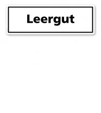 Textschild Leergut - TX